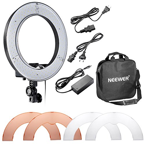 Neewer Kamera-Foto / Video 14 '/ 36cm Äußere 36W 180STK LED SMD-Ring-Licht 5500K Dimmbare Ring-Videoleuchte mit Kunststoff-Farbfilter -Set