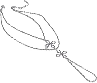 YiyiLai Chinese Knot Multilayer Foot Chain Anklet Barefoot Sandals Silver