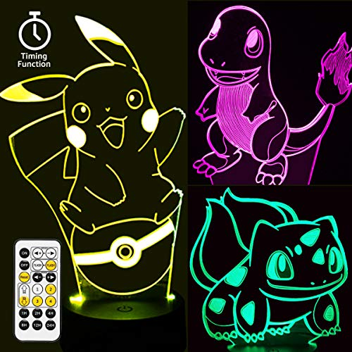Pikachu Toys Night Light - 3D Illusion Lamp Three Patterns 7 Colors Changing with Timer Remote...