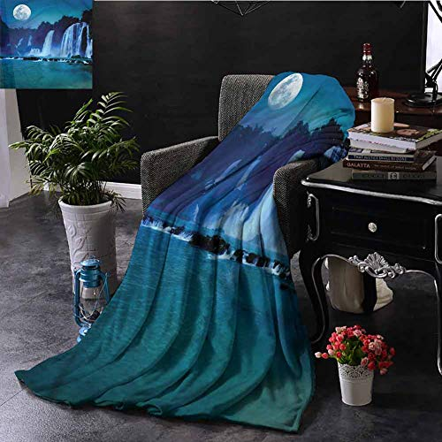EDZEL Best Blankets Waterfall Full Moon Midnight View for Bed Couch Chair 84x54 Inch