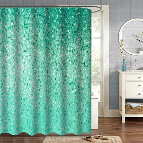 """VVA Turquoise Dots Fabric Shower Curtain, Small Dot Rows on Tile Pattern, Simple Shape and Classical Creative Mosaic Fun Design, Cloth Bathroom Decor Set with Hooks, 72"""" Long, Turquoise Blue"""