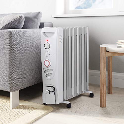 Pro Breeze® 2500W Oil Filled Radiator, 11 Fin - Portable Electric Heater - Built-in Timer, 3 Heat Settings, Adjustable Thermostat, Safety Cut-Off & 24 Hour Timer - White