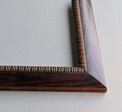 Biedermeier Holzrahmen 40x47 cm 47x40 cm Farbwahl: hier Braun mit Gold verziert mit entspiegeltem...