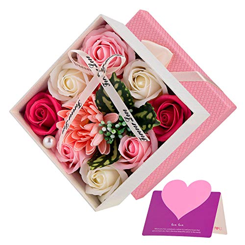 Wisolt Künstliche Rosenseifenblume Geschenkbox, Gefälschte Blumen-Geschenkbox, Romantisches Geschenk für sie am Muttertag, Jahrestag, Geständnis, Valentinstag, Weihnachten