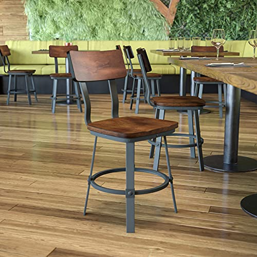 Flash Furniture Flint Series Rustic Walnut Restaurant Chair with Wood Seat & Back and Gray Powder Coat Frame