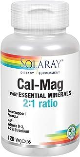 Solaray Cal-Mag with Essential Minerals | Calcium, Magnesium, Strontium, Vitamins D-3 & K-2 | 30 Serv | 120 VegCaps