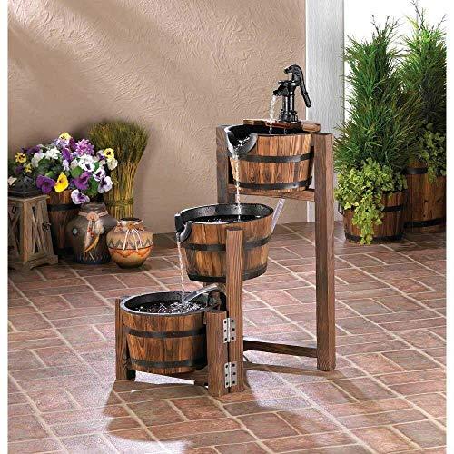 wakatobi New Apple Barrel Cascading Fountain Water Patio Outdoor Three Teir Decor