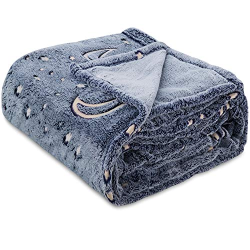 Glow in The Dark Throw Blanket, Moon and Stars Soft Warm Cozy Fuzzy Plush Blanket for Kids Teenage...