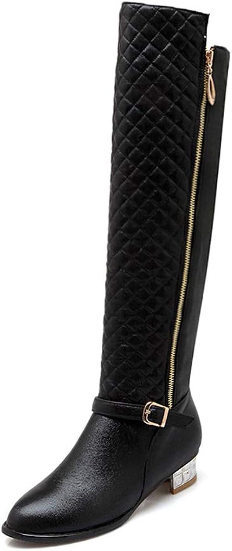 Hoxekle Winter Woman Knee-High Boots Low Square Heels Side Zipper Buckle Strap Shinny Fashion Lady Winter Warm shoes