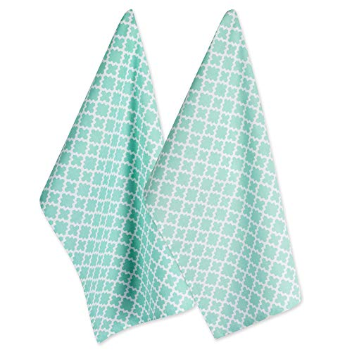 DII Cotton Lattice Dish Towels with Hanging Loop, 18 X 28 Set of 2, Fast Dry Kitchen Tea Towels for Everyday Cooking and Baking-Aqua