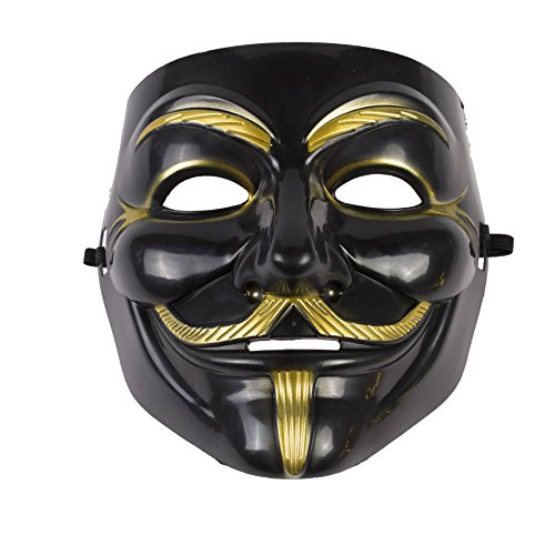 Annonymous Vendetta Mask - Gold or Black (Black/Gold) by Rock