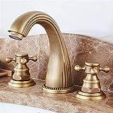 Grifo de cobre estilo europeo antiguo retro de tres agujeros bajo encimera grifo verde antiguo caliente y frío cobre lavabo grifo (color: S)