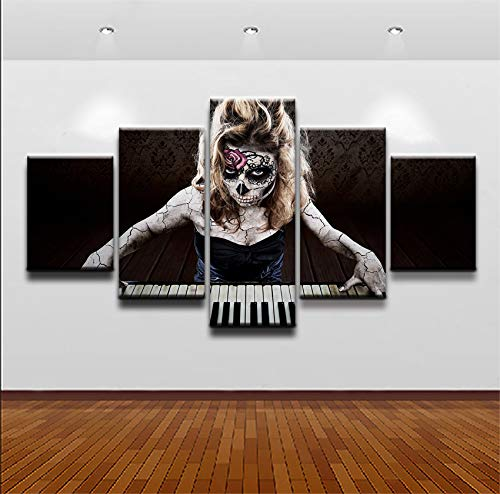 DJxqJ Leinwanddrucke Leinwand Hd Prints Bilder 5 Stück Künstlerische Sugar Skull Playing The Piano Paintings Poster Drucke auf Leinwand Rahmen