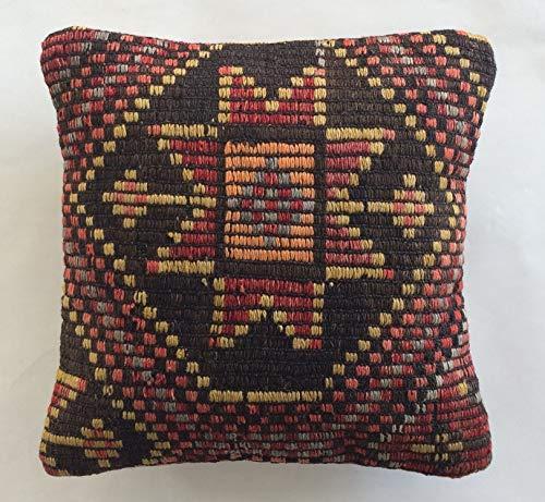 Handgewebt Türkisch Kilim Kissen aus der Türkei Vintage Kelim Teppich Kissenbezug Kissenhülle Ziegenhaar 006