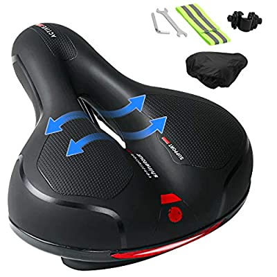 Ankuka Bike Seat, Comfortable Memory Foam Waterproof Bicycle Saddle, Universal Fit, Shock Absorbing Including Mounting Wrench, Allen Key, Reflective Band and Waterproof Protection Cover