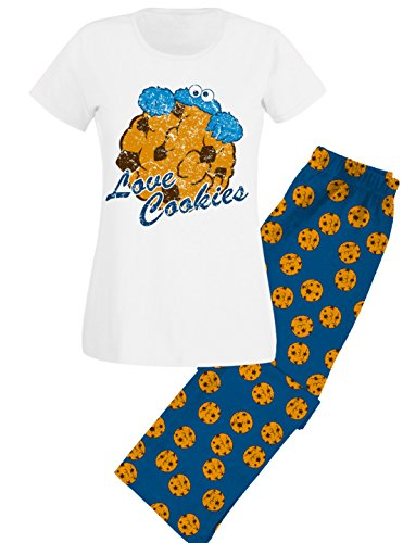 Sesamstraße Krümelmonster Schlafanzug Pyjama Love Cookies, Blau, S