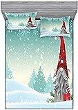 HSBZLH Tagesdecke EL-F to-Mt-E Steht Auf Schnee Auf Dem Finnischen Winter-Weihnachtsthema Dekorativ Bedrucktes 3-Teiliges Bettwäsche-Dekor-Set Königin Mintgrün