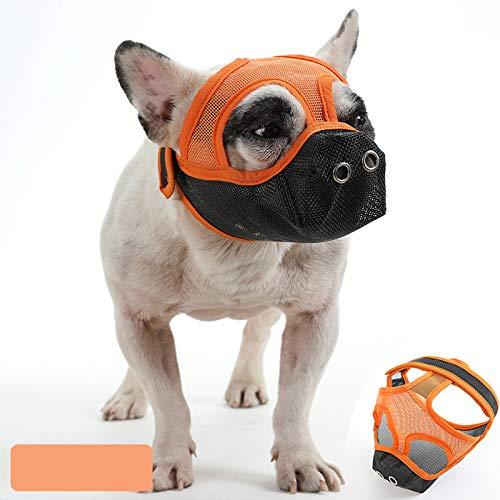 ASDZ Bozal Corto para Perro con Forma de Bulldog de Malla Transpirable Ajustable para mascarar,Cortar y Entrenar a Perros