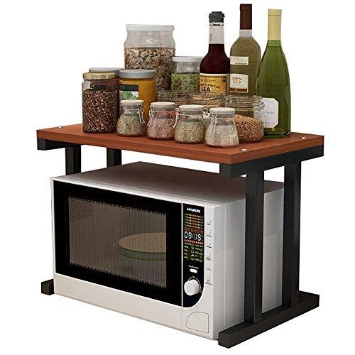 Metall Mikrowelle Regal, 2 Schicht Küchenregal Arbeitsplatte, Mikrowellenhalterung Küchen Organizer, Ofen Regal für Küche (Color : B)