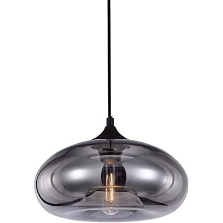 HJXDtech Suspension Luminaire Industriel Vintage LOFT E27 Lustre Plafonniers avec Placage Miroir Gris Abat-Jour, Verre Lampe de Salle à Manger Cuisine Salon Chambre (A)