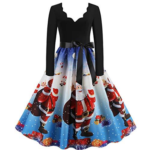 waotier Gown 1950s Vestido de Fiesta Retro Rockabilly para Mujer, Cuello en V Profundo, Manga Larga, Elegante, Vintage, Vestido de cóctel, Vestido de Noche con Volantes Plisados