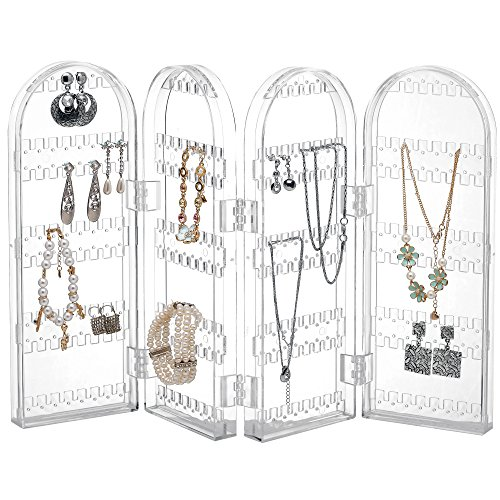Beautify Jewellery Organiser Acrylic Foldable Necklace Hanger Clear Transparent Jewellery Display Stand Ring Holder Stores 260 Earrings