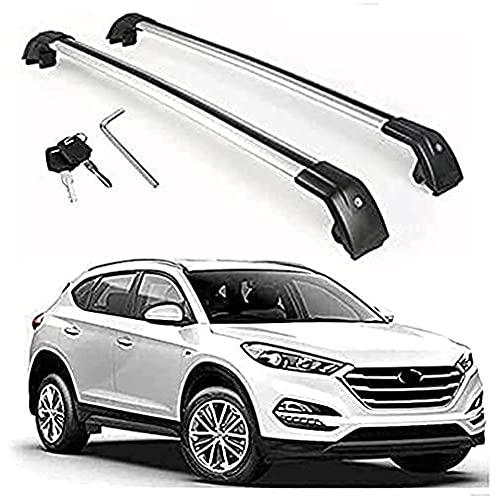 Barra De Techo De Aluminio Para Hyundai Tucson 2016 2017 2018 2019 2020 2021, 2 Piezas Barras Portaequipajes Para Coche Transporte De Carga AnticorrosióN Barra Transversal De Equipaje Para Techo
