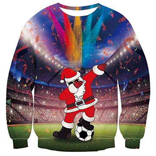 Freshhoodies Unisex Santa Claus con Fútbol Jersey De Navidad 3D Fútbol Navidad Ropa Divertida Jerseys Traje De...