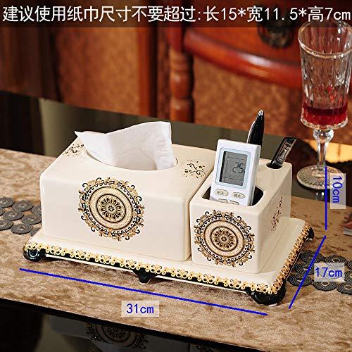 Joeesun Europäische Keramik obstschale dreiteilige Wohnzimmer Tissue Box Hotel KTV aschenbecher Dekoration Fach multifunktions Tissue Box mit stifteinsatz, französisch Zeremonie
