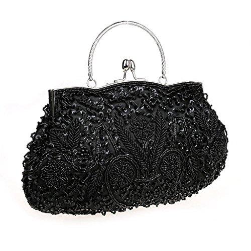 HONGCI Bolso al hombro para mujer - Bolso de Tarde Flores Retro Beaded Bolso de Embrague Bolso Bolsa de Embrague Bolso de Fiesta Boda (Negro)