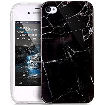 iPhone 4S Case,iPhone 4 Case,ikasus iPhone 4 / 4S case Marble,Glossy Marble Texture Ultra Slim Thin Flexible Soft Silicone TPU Bumper Rubber Protective Case Cover for iPhone 4S / 4 - Black