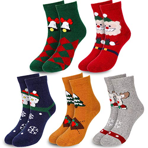 Qpout 5 Pairs Christmas Socks, Xmas Casual Ankle Socks,...