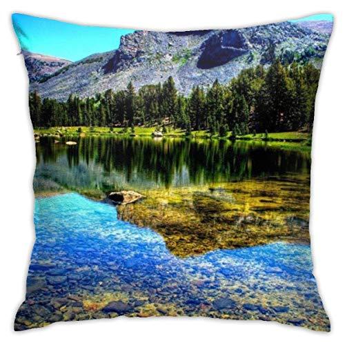 Hangdachang Throw Pillow Case 45cm x 45cm Mountain Lake Pillowcase,Square Throw Covers,Decorative Cushion for Sofa Couch Car
