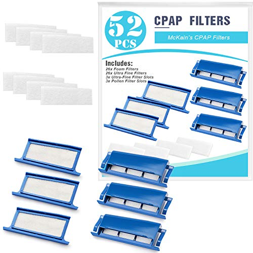 CPAP Filters 52 Packs Compatible with Dreamstation- Assembly Filter Into Reusable Frame Kit - 26 Foam Filter + 26 Ultra-fine Filter + 3 Frame-Pollen & Hypoallergenic Supplies by McKain