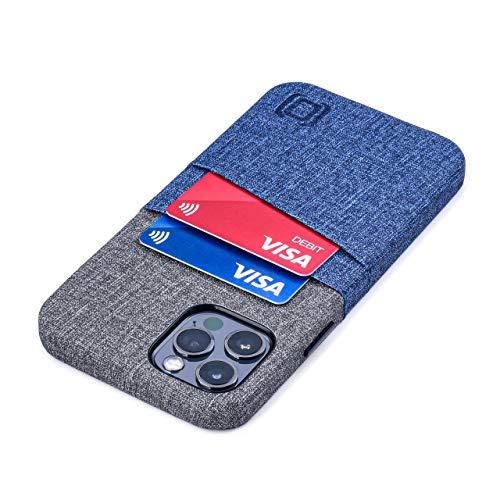 Dockem iPhone 12 & iPhone 12 Pro Handyhülle mit Kartenfach: Wallet Handytasche mit Integrierter Metallplatte für Magnet-Halterung [Luxe M2, Blau/Grau]