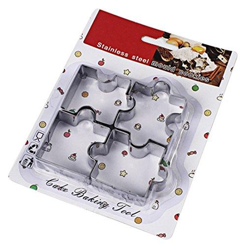 joyliveCY Acero inoxidable Puzzle Compatible Conma Cookie Cutter Fondant molde decoración de pasteles herramienta