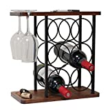 Countertop Wine Rack with Glass Holder, Wood Wine Bottle Holder Stand Perfect for Home Decor & Kitchen