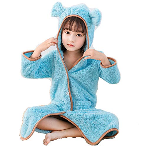 着る毛布 キッズサイズ もこもこルームウェア長袖 女の子 男の子 男女兼用 子ども服 冬 ふわふわ 部屋着 寝冷え対策 防寒 バスローブ スリーパー パジャマ あったかグッズ ピンク ブルー ブラウン (ブルー, 110)