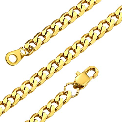 GOLDCHIC JEWELRY Gold Men Chain Necklace, 4mm Cuban Link Chains Basic Jewellery for Rapper
