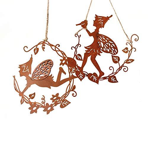Metall Hänger. Elfen auf Blumenzweig. Rost. 2 x Elfe/Fee/Feen Metallhänger. 68393 (2 Stück)