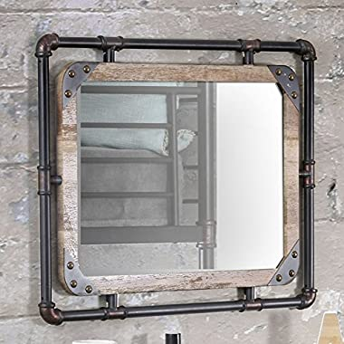 Furniture of America Revo Industrial Antique Black Framed Wall-Mount Mirror