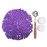 Kelzia Perlas de Cera de Sellado- Kit de Lacre de Sellado Octagonal con 2 Velas de Té + 1 Cuchara de Fundir sin Sello - Cera para Sellar y Decorar Cartas e Invitaciones - 230 piezas (Violeta Oscura)
