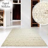 Teppich Wölkchen Tappeto Tessuto a Mano | Pura Lana Schur nel Design Scandinavo | per Soggiorno Sala, da Pranzo, Camera da Letto, Corridoio Vivaio | Sabbia - 130 x 190 cm