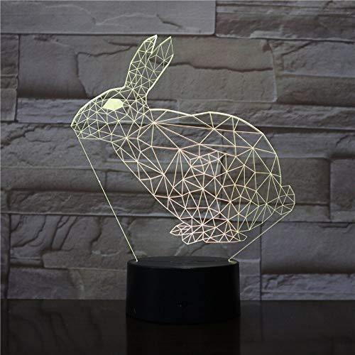 Nur 1 Stk. Die Rabbit Animal 3D-Lampe die für den Schreibtisch betrieben wird. Dekoratives Nachtlicht