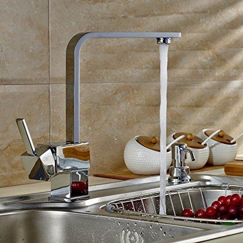 Auralum Grifo de Cocina Grifo Moderno Cuadrado Cromo-plateada Latón Elegante