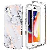 SURITCH Compatible con Funda iPhone 7/8 Silicona 360 Grados Marmol Oro Rosa Ultra Fina Bumper Flexible TPU Elegante Delantera y Trasera Irrompible Caso Carcasa iPhone 8/7 - Blanco y Negro