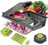 ENUOSUMA - Cortador de verduras 8 en 1 con mandolina, cuchillas de acero inoxidable, cortador de frutas y verduras, cortador de queso y cebolla, herramientas de cocina multifunción