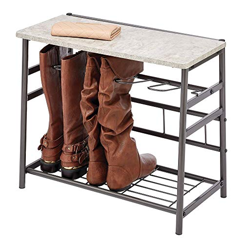 mDesign Zapatero de madera y metal – Organizador de zapatos para 3 pares de botas – Mueble zapatero con espacio para libros y decoración – gris grafito y gris