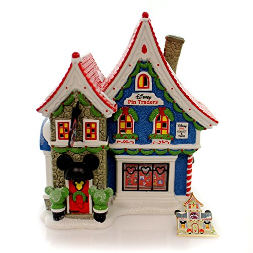Department 56 North Pole Village Mickey's Pin Traders Lighted House, 8.18'