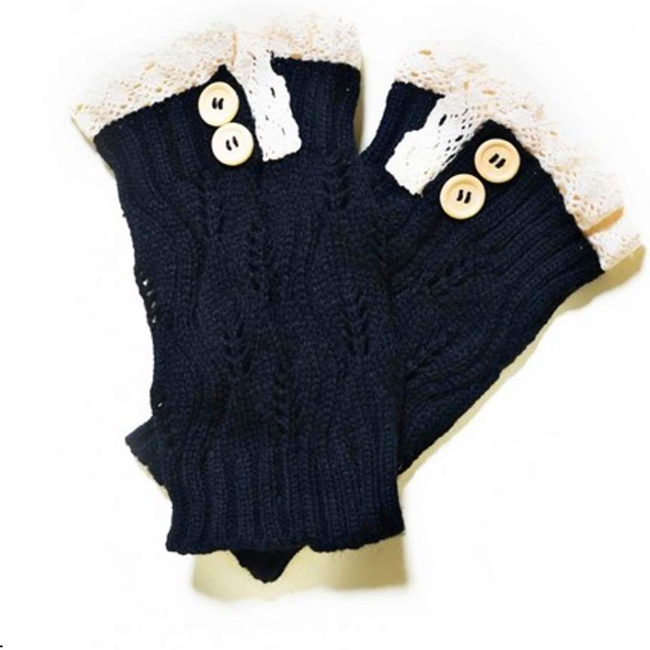 Women's Crochet Button Trim Short Leg Warmers
